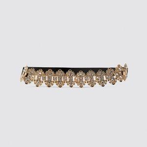Zara velvet belt with gems / golden